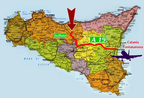image of the map on how to get the santa venera farmhouse in madonie coming from catania in airplane