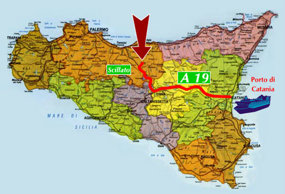 image of the map on how to get the santa venera farmhouse in sicily coming from catania in ship