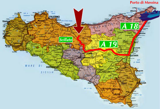 image of the map on how to get the santa venera in madonie mountains coming from messina in train