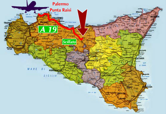 image of the map on how to get the santa venera farmhouse in madonie coming from palermo in airplane